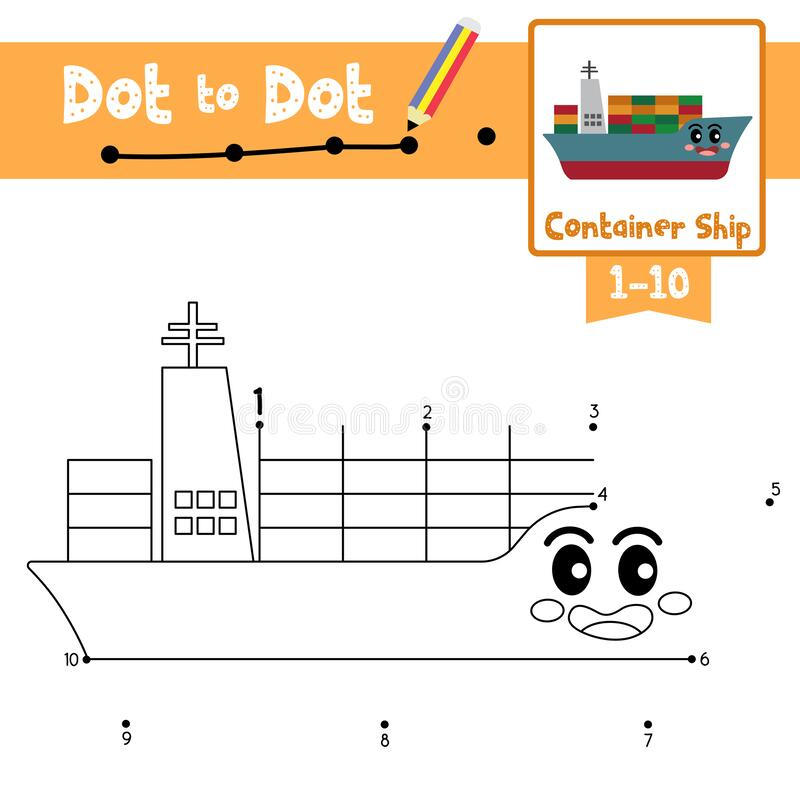 Free Dot To Dot Educational Game And Coloring Book Container Ship Cartoon Character Side View Vector Illustration Royalty Free Stock Images - 174337069