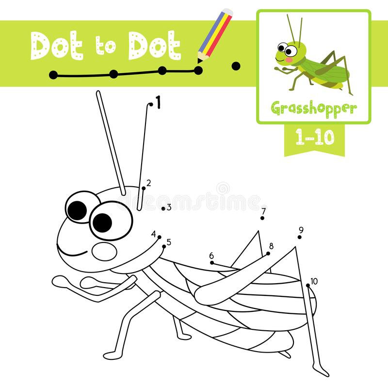 Free Dot To Dot Educational Game And Coloring Book Grasshopper Animal Cartoon Character Vector Illustration Royalty Free Stock Images - 187258539