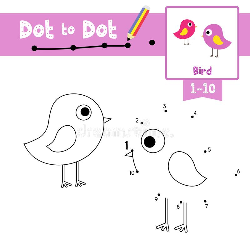Free Dot To Dot Educational Game And Coloring Book Standing Bird Animal Cartoon Character Vector Illustration Stock Photo - 190338800