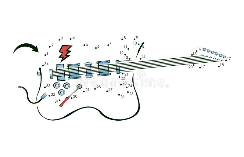 Download Dot to dot guitar stock vector. Image of music, rock - 18059834