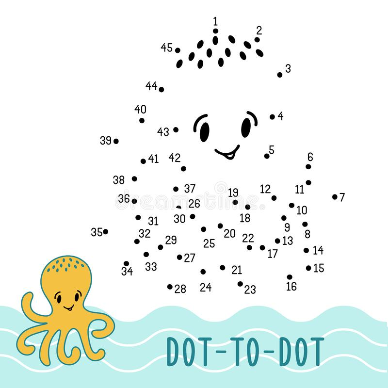 Dot to dot game number connect dots octopus stock illustration