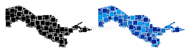 Dot Uzbekistan Map avec la version bleue illustration stock