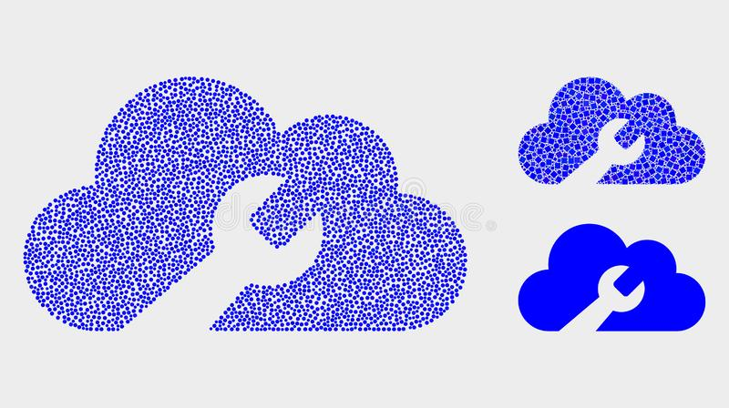 Dot Vector Cloud Wrench Icons royalty free illustration