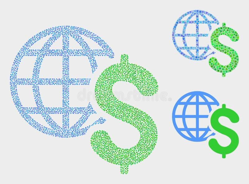 Dot Vector Global Business Icons lizenzfreie abbildung