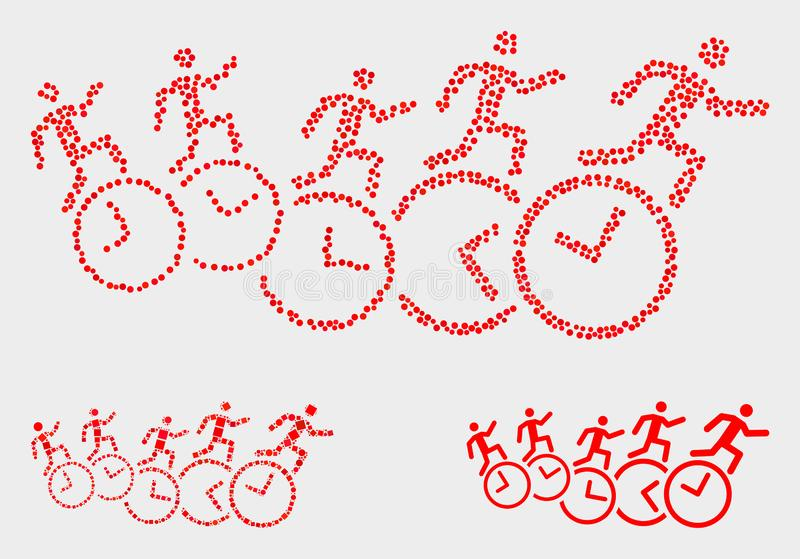 Dot Vector People Run Over synchronise des icônes illustration libre de droits