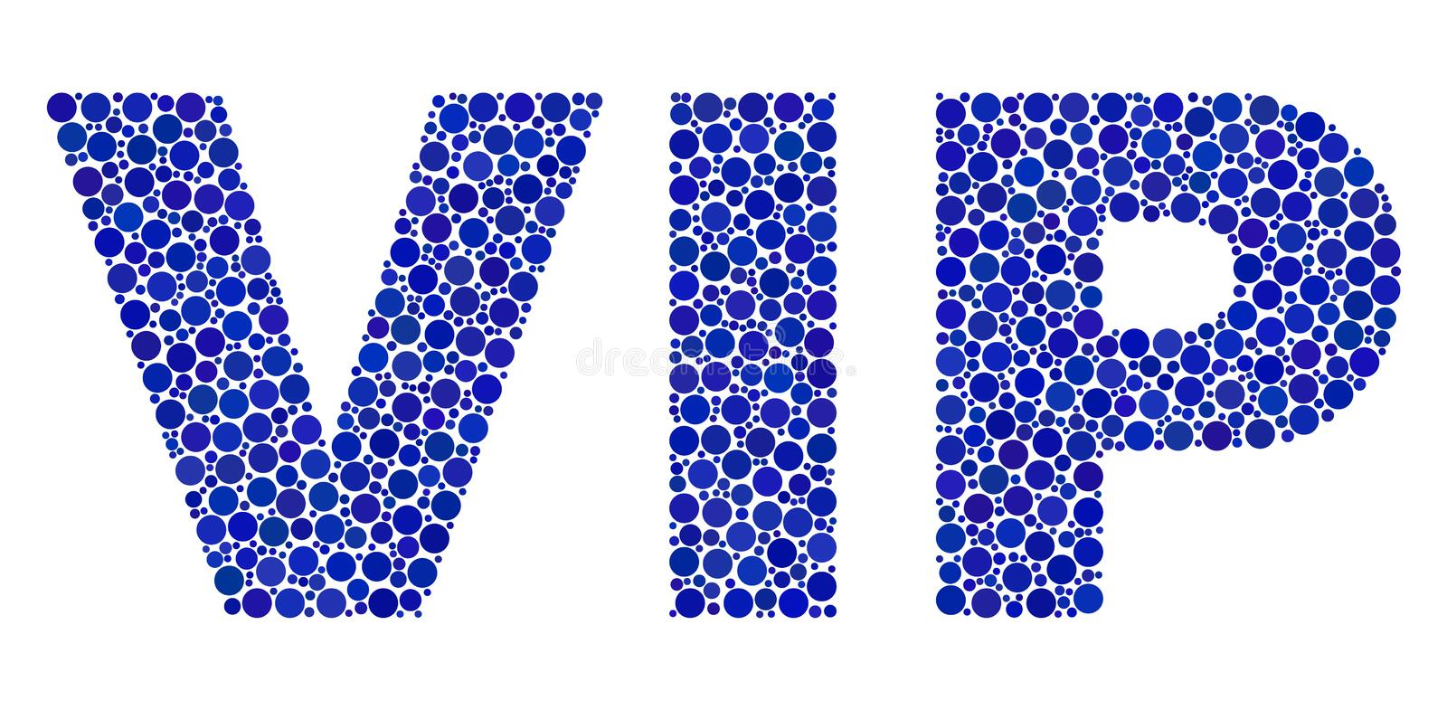 VIP Text in Dot Style. Dot vector Vip text isolated on a white background. Vip mosaic tag of circle dots in various sizes vector illustration
