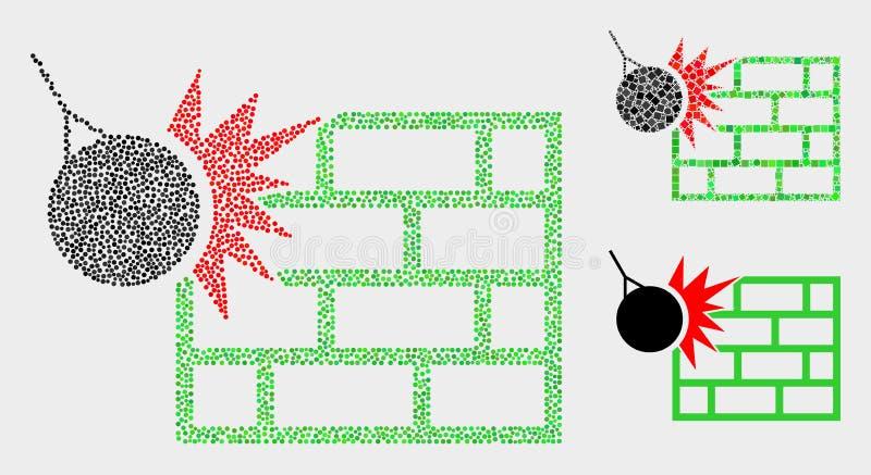 Dot Vetora Crush os ícones da parede ilustração do vetor