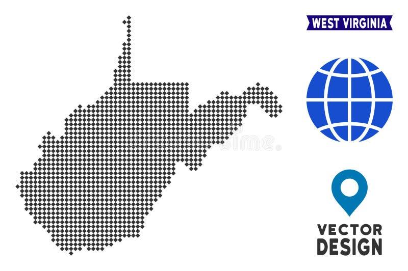 Dot West Virginia State Map ilustración del vector