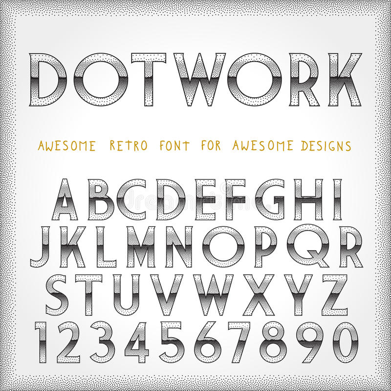 Download Dot Work Alphabet In 80s Retro Futurism Style Stock Vector