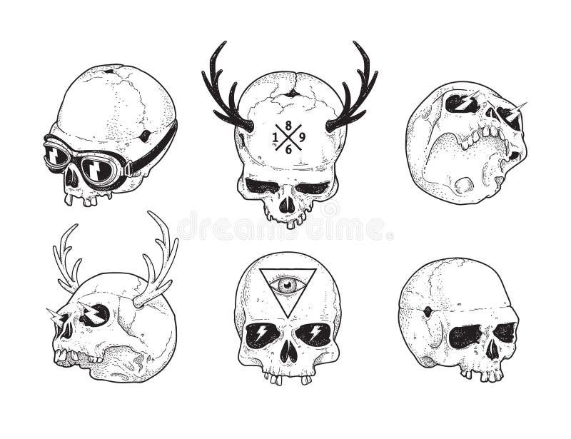 Dot Work Skulls Set vektor illustrationer