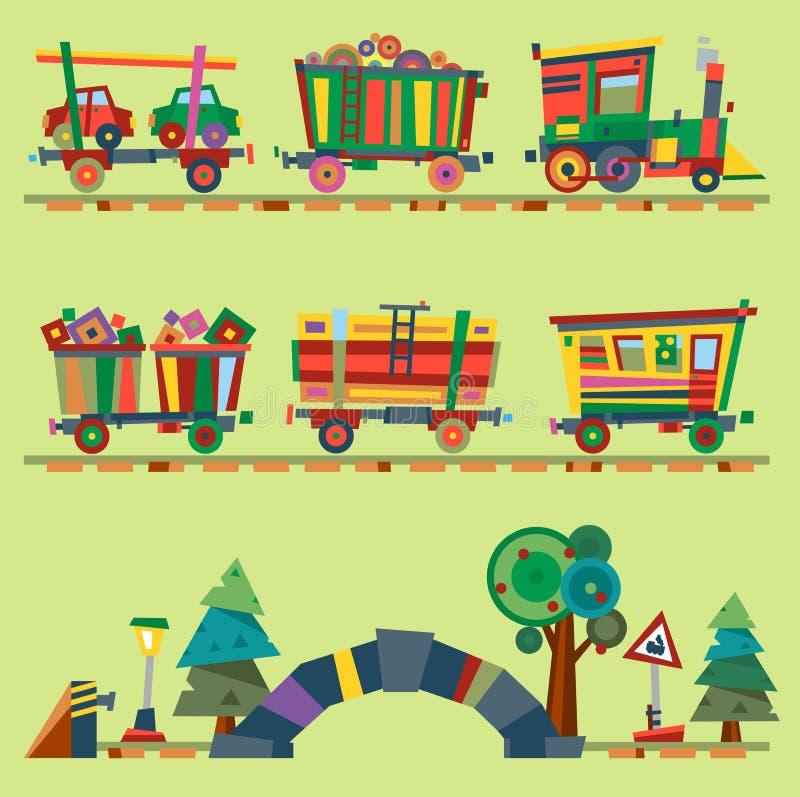 Dotato locomotivo del gioco del giocattolo o della ferrovia del fumetto del bambino della ferrovia del treno di vettore del bambi royalty illustrazione gratis