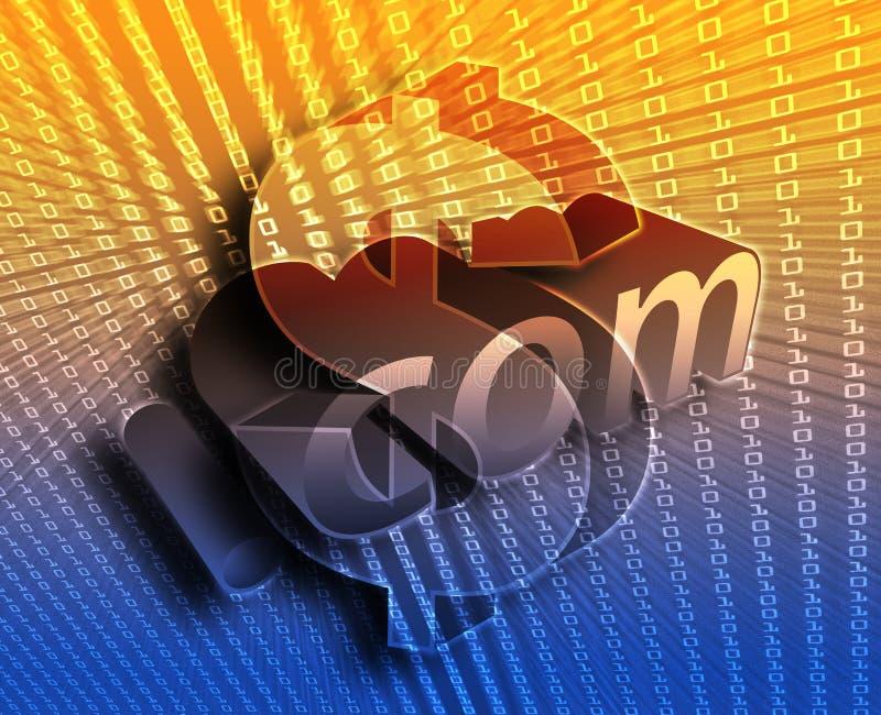 DotCom illustration. DotCom background, with us dollar currency illustration vector illustration