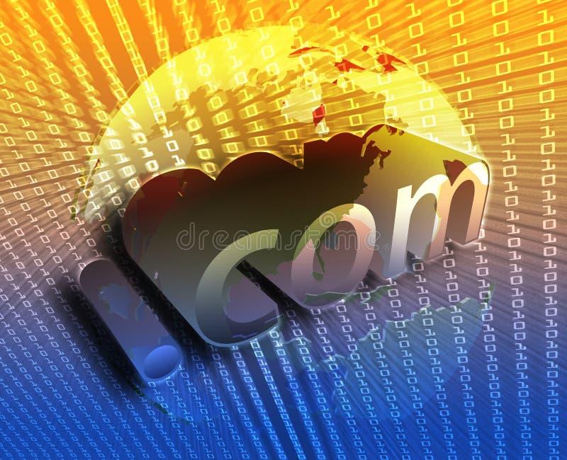 DotCom illustration. DotCom background, on US map internet illustration vector illustration