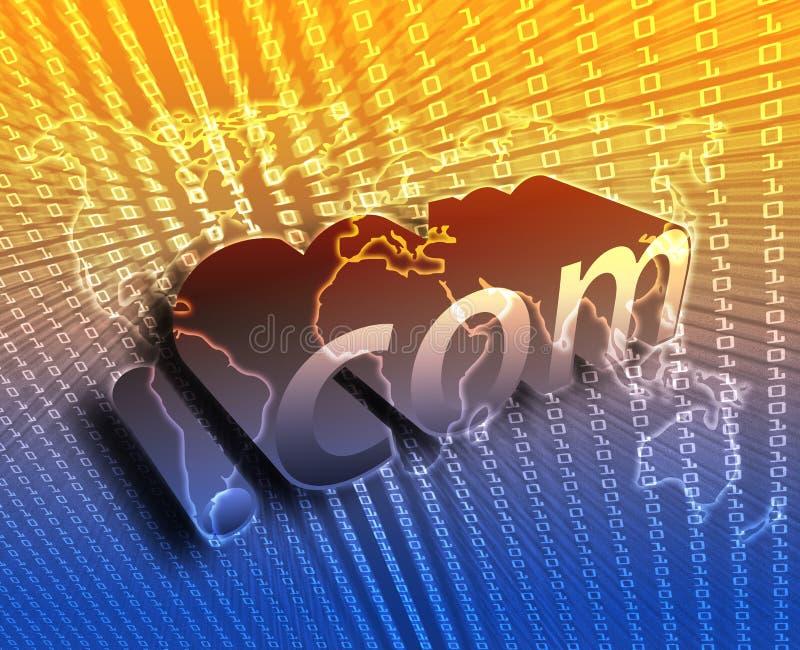 DotCom illustration. DotCom background, on world map internet illustration vector illustration