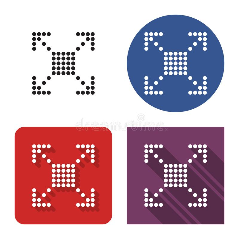 Doted icon of full screen extend in four variants royalty free illustration