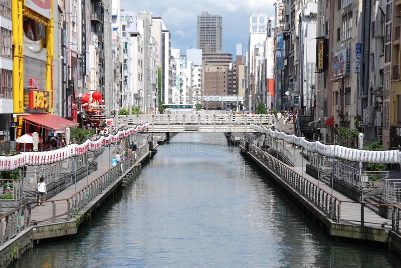 Dotonbori River in Osaka of Japan. Dotonbori is one of famous sightseeing point in Osaka. There are many restaurant located there royalty free stock image