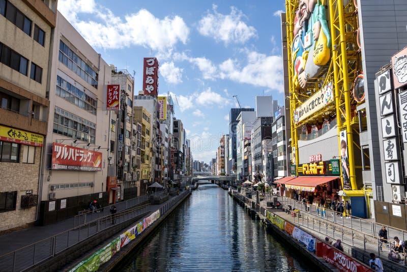 Dotonbori in osaka. Dotonbori canal street in Osaka with many stores and restaurants along the canal. Osaka, Japan. Taken on October 30th 2018 royalty free stock photography