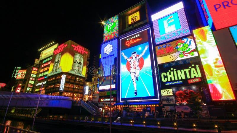 Dotonbori sławny miejsce przeznaczenia dla podróżnika w Osaka mieście, Osaka, Japonia obrazy royalty free