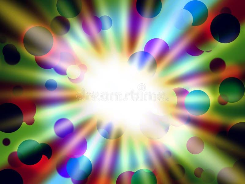 Dots Background Shows Round Shapes e luz brilhantes ilustração do vetor