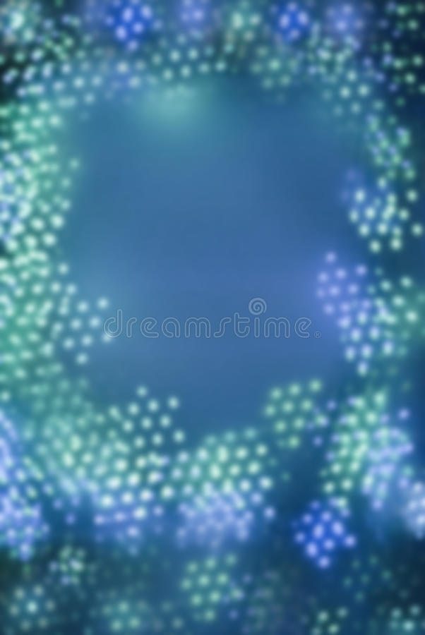 Dots from blue bokeh lights pattern in shape of a frame stock images