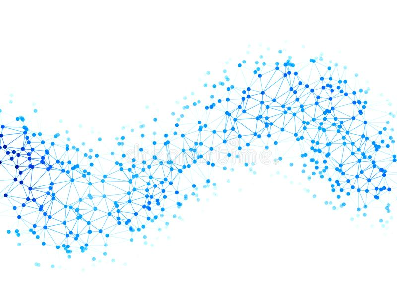The dots are connected by lines in the form of a wave. Abstract illustration on the topic of large data, chemistry. Social networks. White background stock illustration