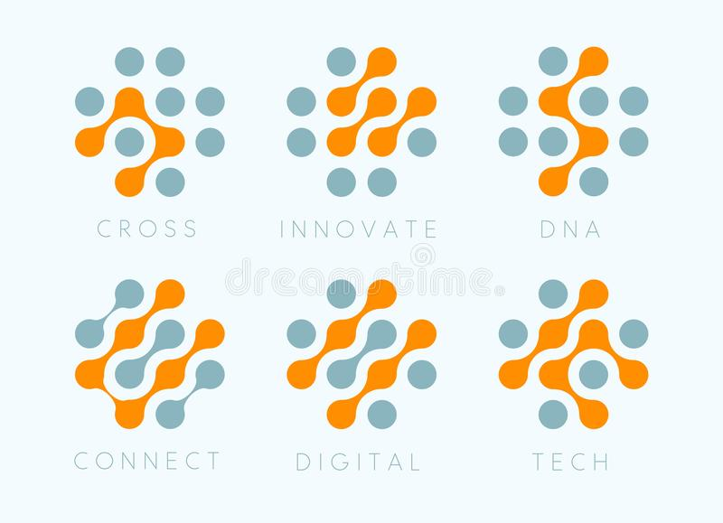 Dots cross vector emblem set. Innovate bio tech modern icons. Digital science labosatory isolated logo collection royalty free illustration