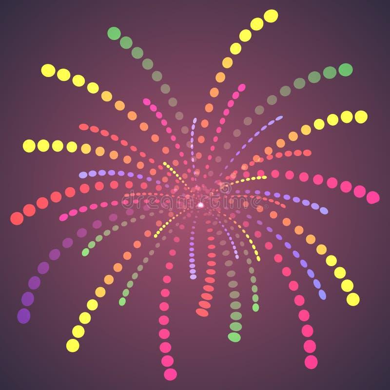 Dots Fireworks variopinto semplice. royalty illustrazione gratis