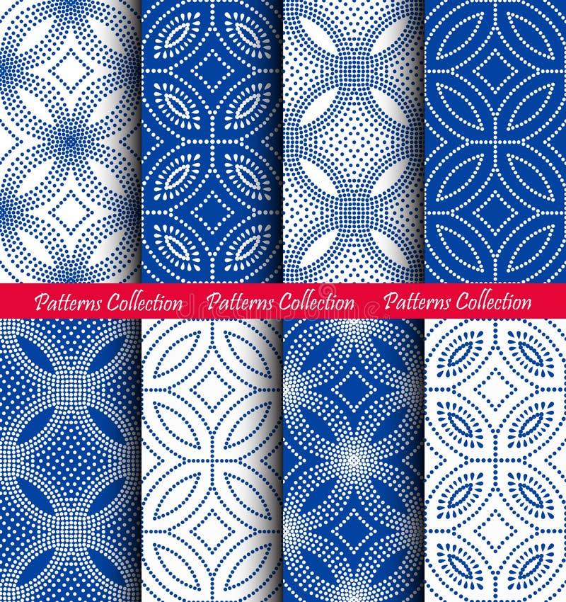 Dots Floral Patterns Backgrounds azul branco ilustração do vetor