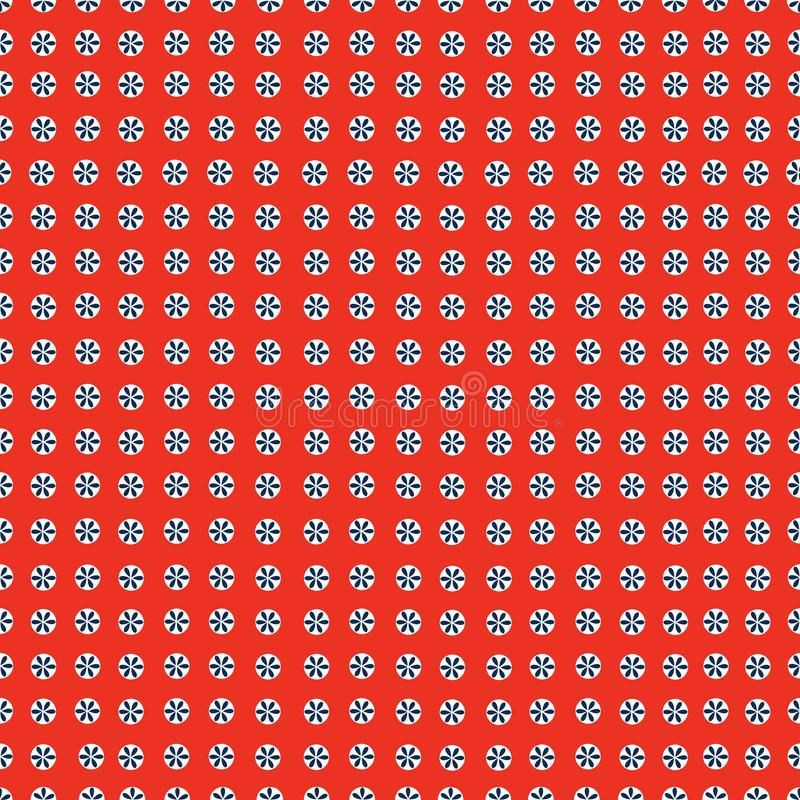 Dots with flower seamless pattern. Baby shower red background. Decorative background stock illustration