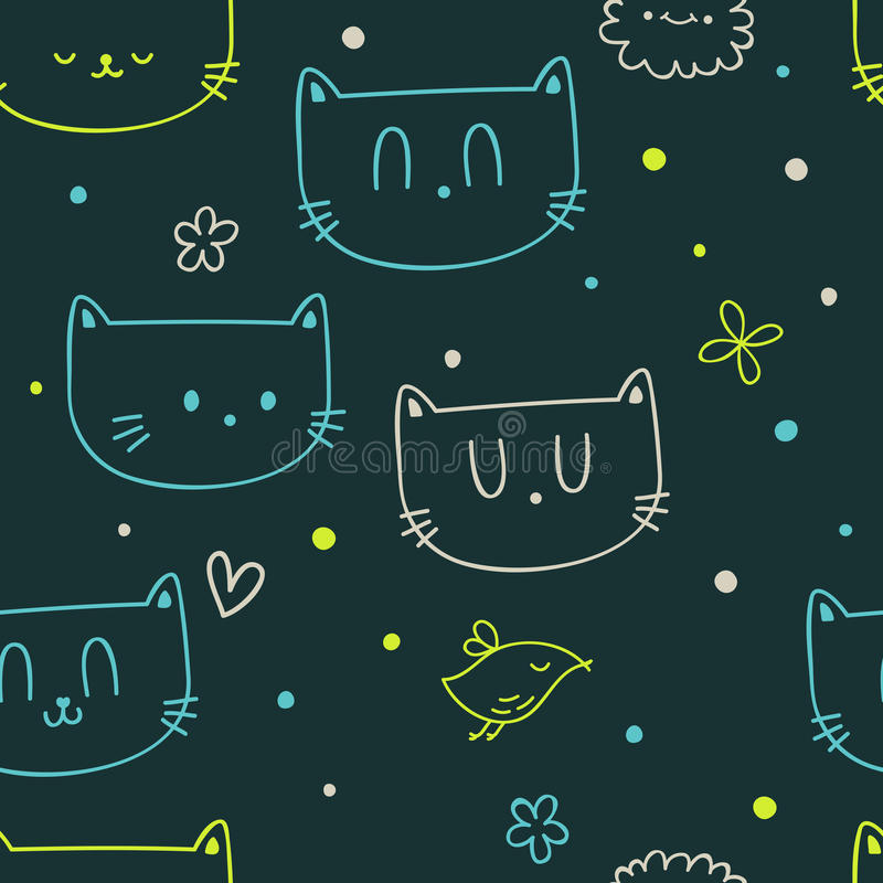 Download Dots, Flowers, Cats And Birds Stock Vector - Image: 24604607