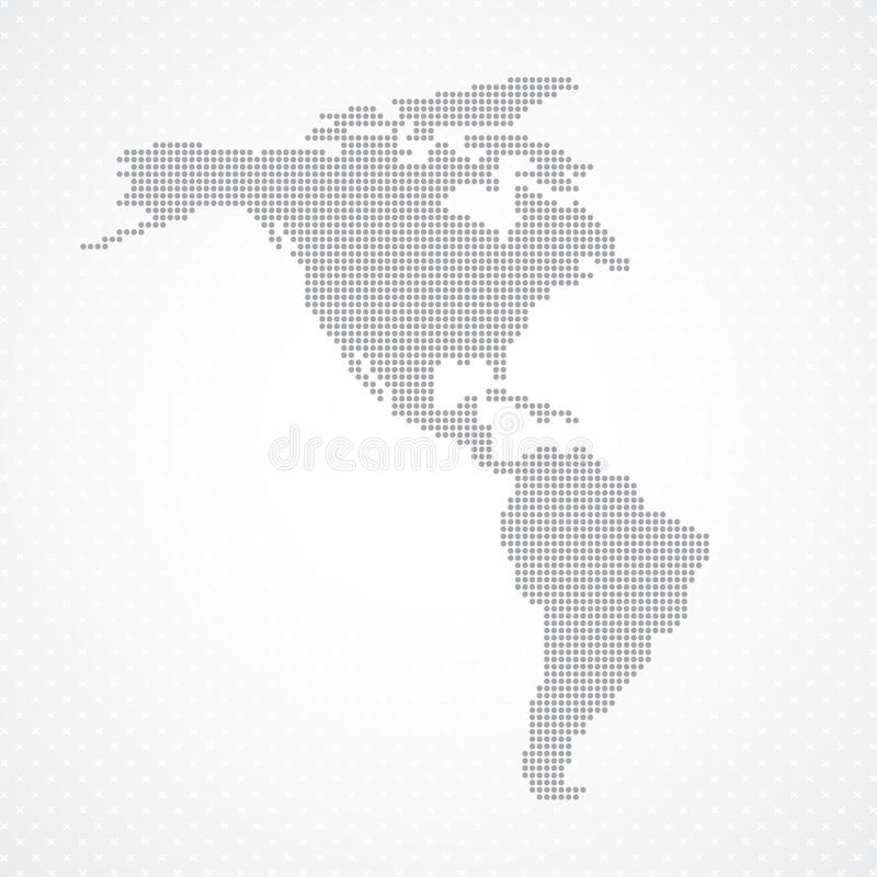 Dots Grey North and South America map background stock illustration