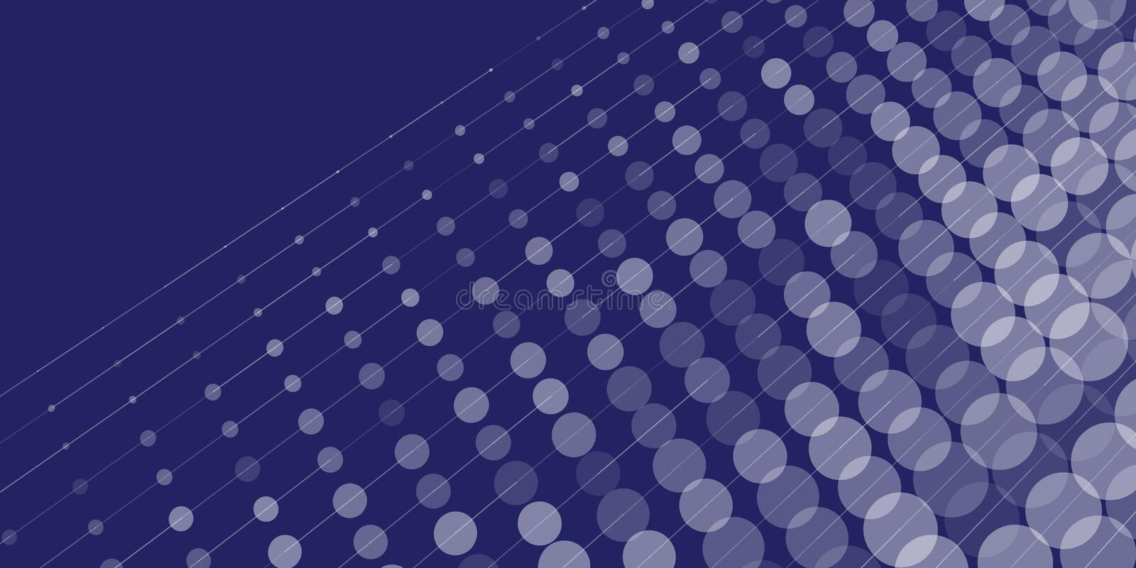 Dots and lines abstract blue background. stock illustration