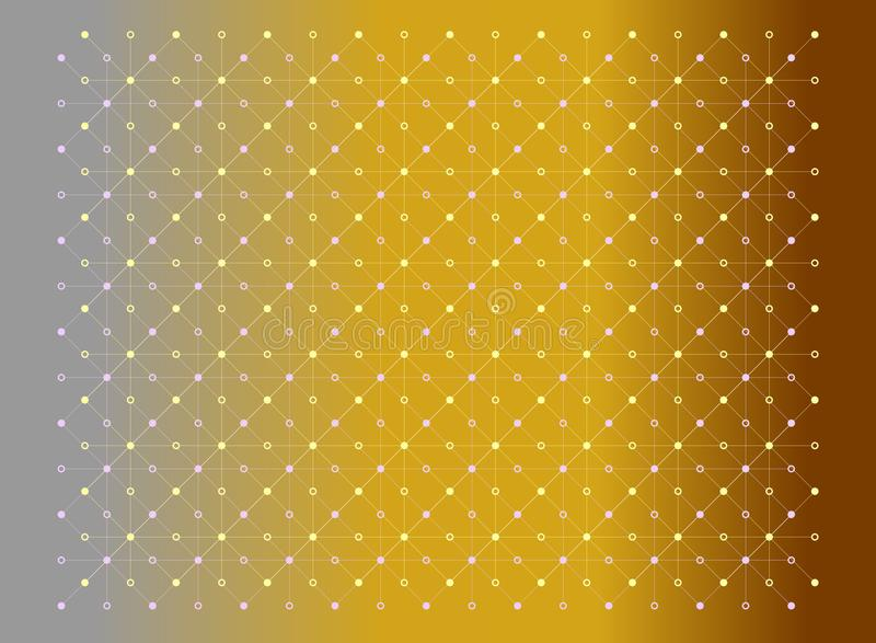 Dots and lines yellow and pink colors texture pattern on gradient gray and gold background. Vector illustration, EPS10. stock illustration