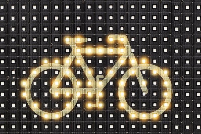 Dots matrix led diplay with illuminated symbol of bicycle royalty free stock photo