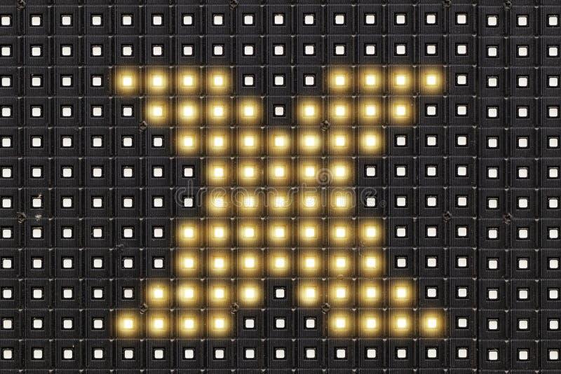 Dots matrix led diplay with illuminated symbol of X cross symbol stock illustration
