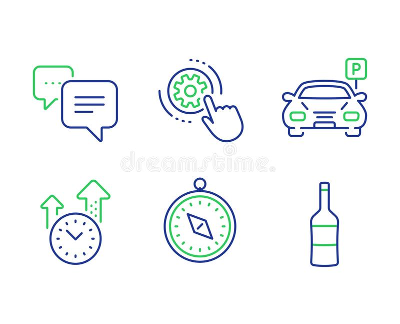 Dots message, Time management and Cogwheel settings icons set. Travel compass, Parking and Wine signs. Vector. Dots message, Time management and Cogwheel vector illustration