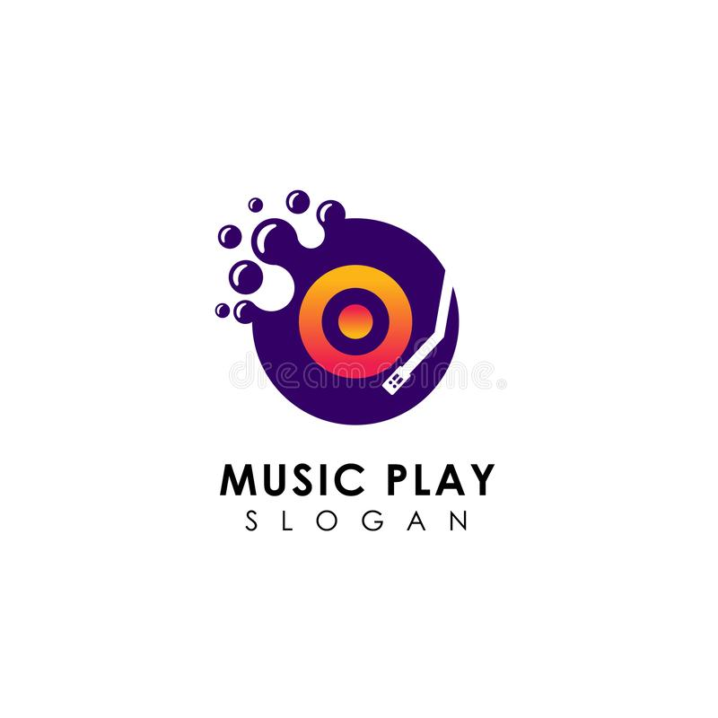 Dots music play logo design template. vinyl disc vector icon symbol design. Music logo design vector illustration