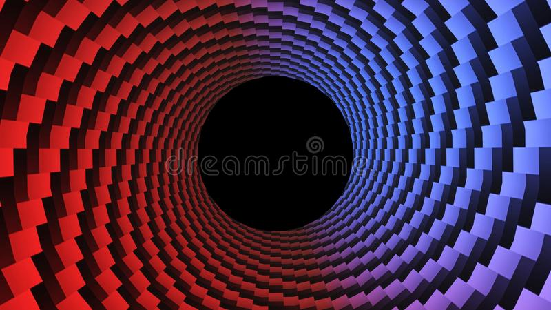 Dots, optical illusion. Hypnotic 3D rendering, circular design rotating. Alpha channel end of the tunnel.  vector illustration
