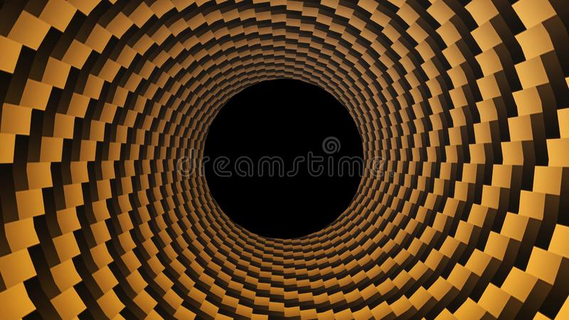 Dots, optical illusion. Hypnotic 3D rendering, circular design rotating. Alpha channel end of the tunnel.  stock illustration