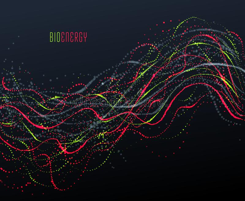 Dots particles flowing array vector abstract background, biology science theme design. Dots particles flowing array vector abstract background, biology science royalty free illustration