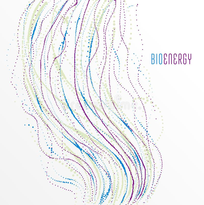 Dots particles flowing array vector abstract background, biology science theme design. Dots particles flowing array vector abstract background, biology science stock illustration