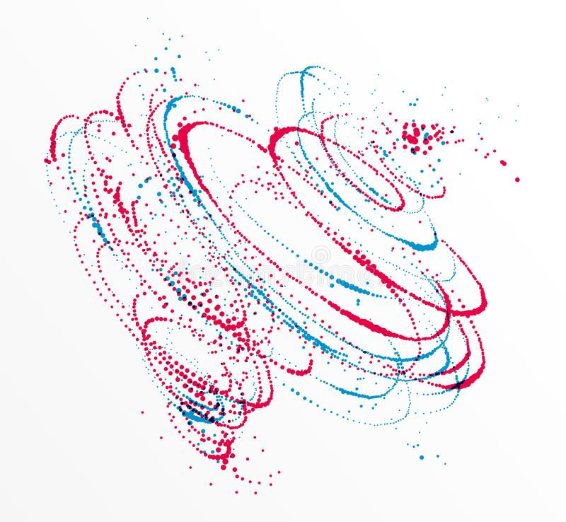 Dots particles flowing vortex vector abstract background, dynamic elements in spin motion. Dots particles flowing vortex vector abstract background, biology vector illustration