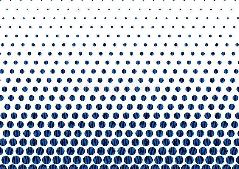 Dots Pattern de semitono azul y negro abstracto en el fondo blanco stock de ilustración