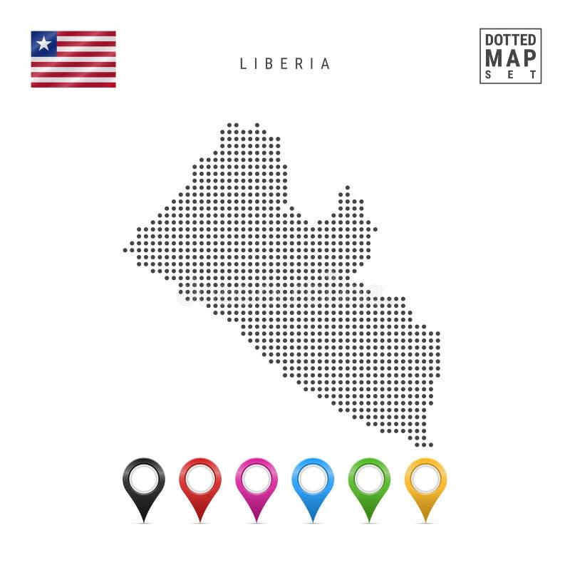 Dots Pattern Vector Map av Liberia Stiliserad kontur av Liberia flag liberia Uppsättning av mångfärgade översiktsmarkörer vektor illustrationer