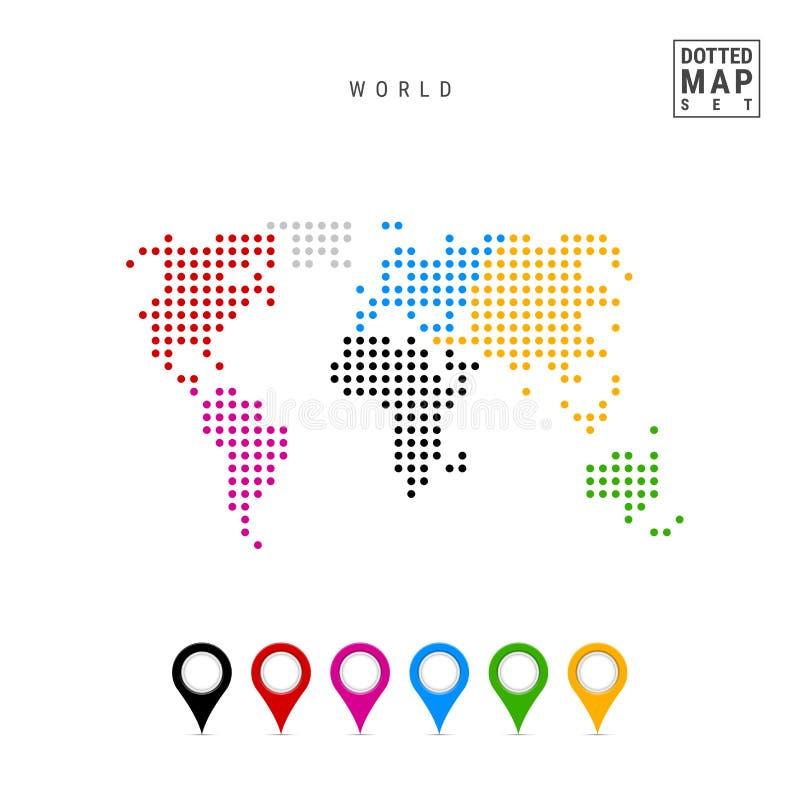 Dots Pattern Vector Map av världen Stiliserad kontur av världen Kontinenter markeras i olika färger vektor illustrationer
