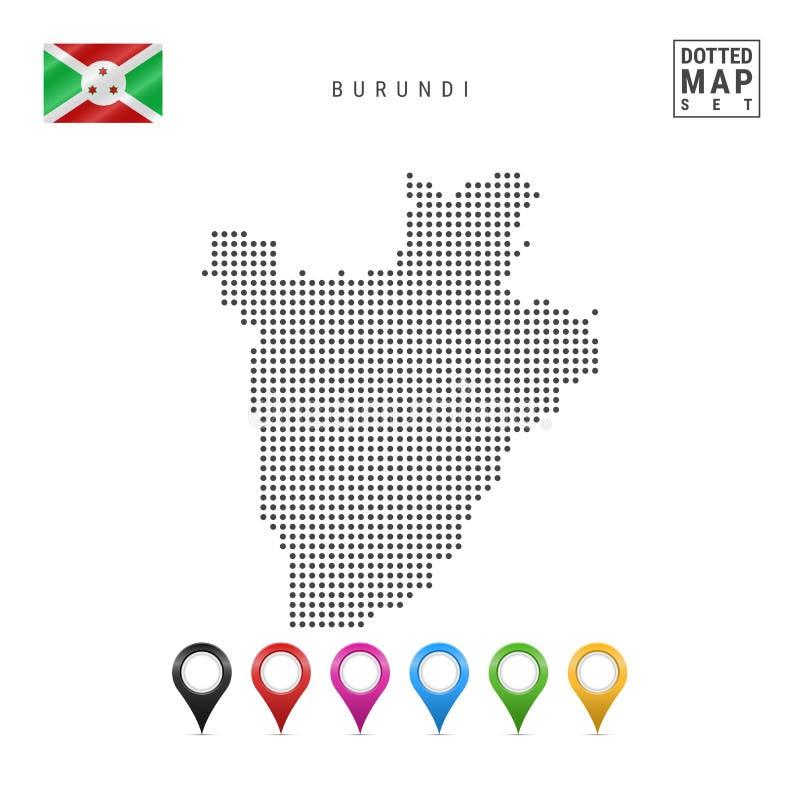 Dots Pattern Vector Map de Burundi Silueta estilizada de Burundi Indicador de Burundi Sistema de marcadores multicolores del mapa libre illustration