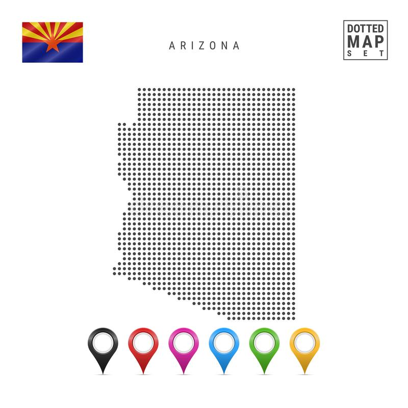 Dots Pattern Vector Map de l'Arizona Silhouette stylisée de l'Arizona indicateur de l'Arizona Ensemble de marqueurs multicolores  illustration libre de droits