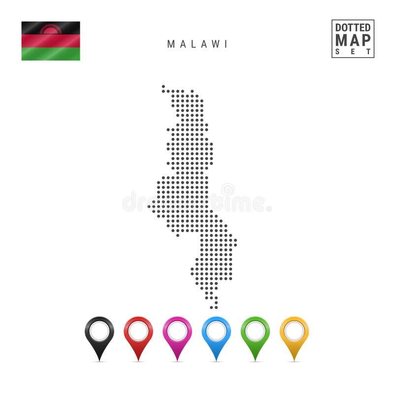 Dots Pattern Vector Map de Malawi Silueta estilizada de Malawi Indicador de Malawi Sistema de marcadores multicolores del mapa ilustración del vector