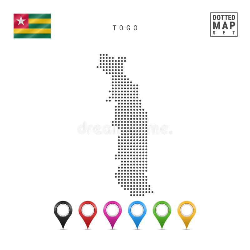 Dots Pattern Vector Map de Togo Silueta estilizada de Togo Indicador de Togo Sistema de marcadores multicolores del mapa libre illustration