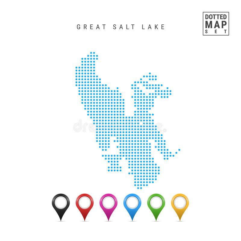 Great Salt Lake, Utah Dots Pattern Vector Map. Stylized Silhouette of Great Salt Lake. Set of Multicolored Map Markers royalty free illustration